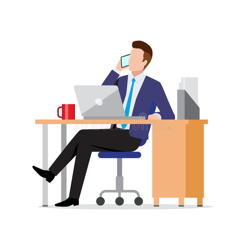 Busy businessman using phone and laptop in office. At workplace, consulting client by smartphone, making call, vector illustration in flat style stock illustration