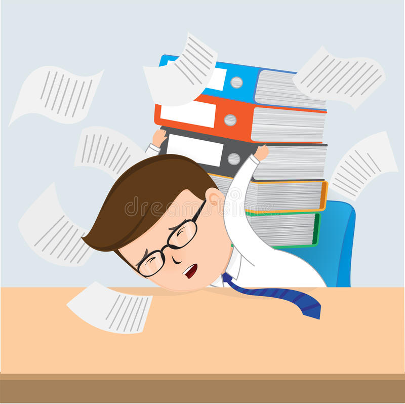 Busy Businessman Working. Business Concept vector 10 stock illustration