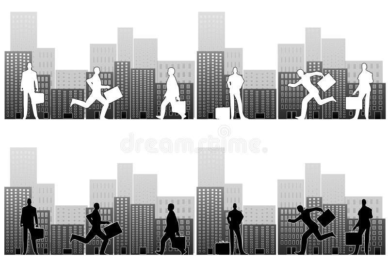 Busy Businessmen in City vector illustration