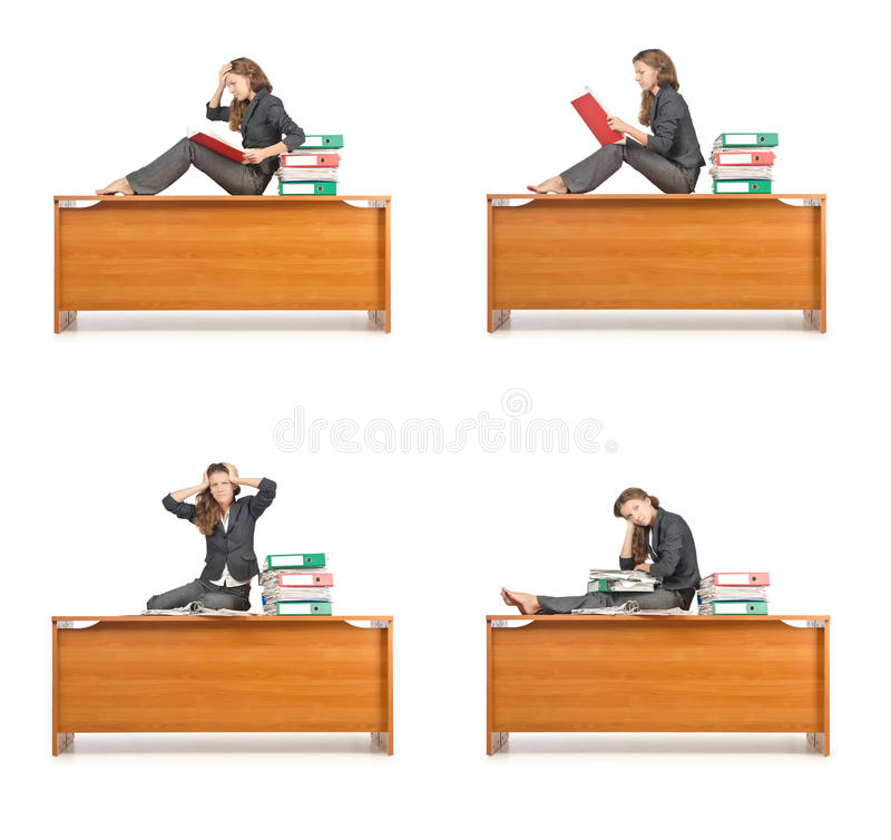 The busy businesswoman isolated on the white royalty free stock images