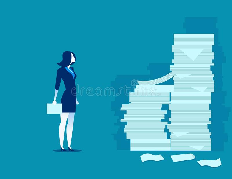 Busy businesswoman. Man and pile of documents. Concept business. Vector vector illustration