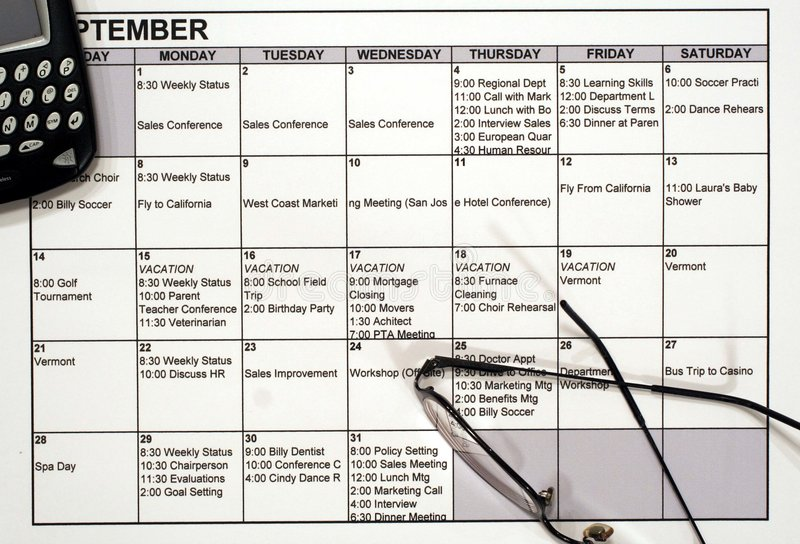 Download Busy Calendar, PDA & Glasses Royalty Free Stock Photo - Image: 1385905
