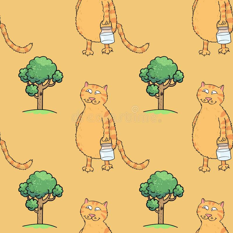 Busy cat walking with milk jar seamless pattern. Cartoon characters quirky background royalty free illustration