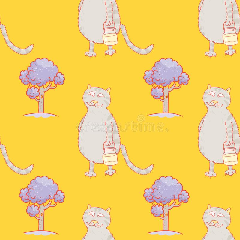 Busy cat walking with milk jar seamless pattern. Cartoon characters quirky background stock illustration