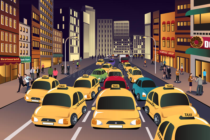 Busy city in the evening vector illustration