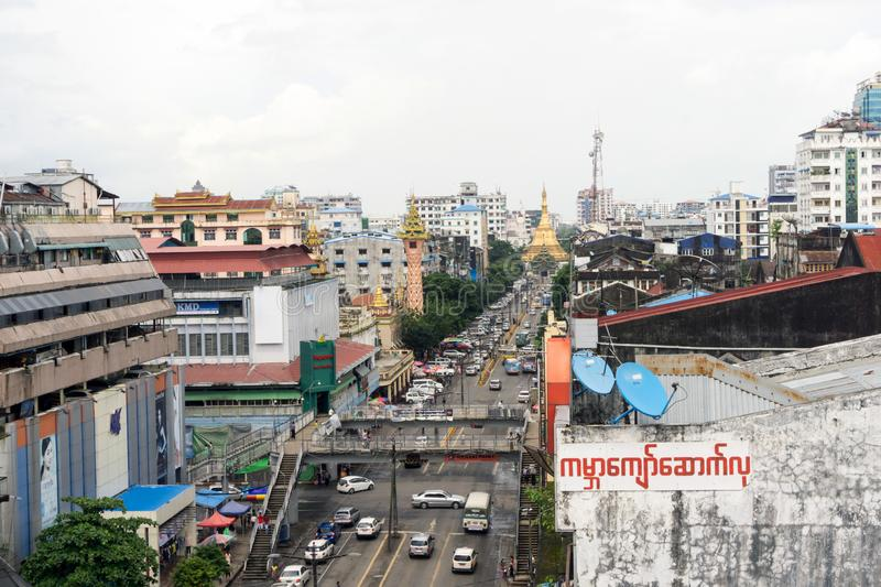 A busy city street in downtown Yangon City, Myanmar stock image