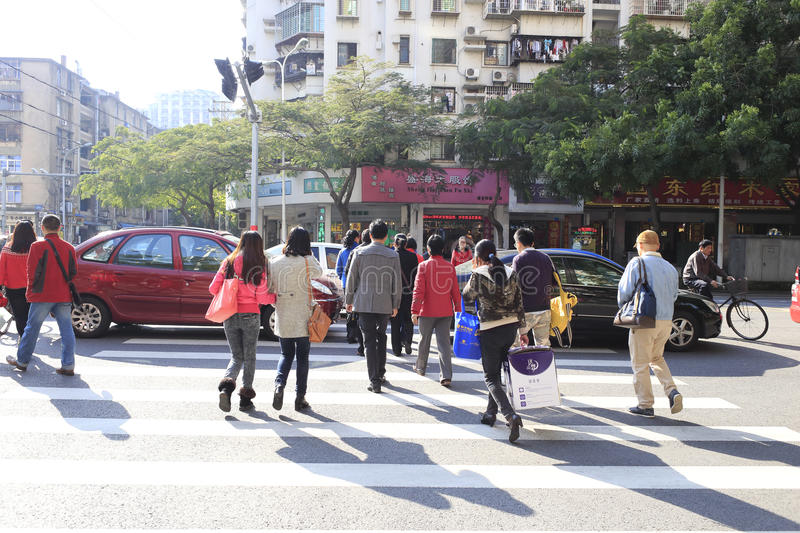 Busy City Street People On Zebra Crossing Editorial Stock Photo