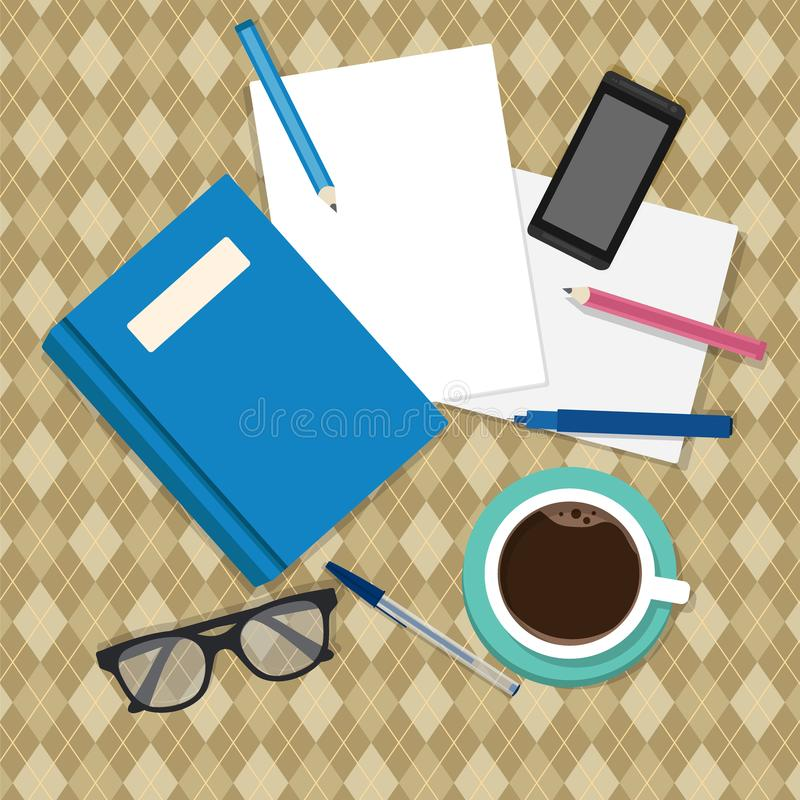 Busy cluttered office table. Flat style. Vector illustration royalty free illustration