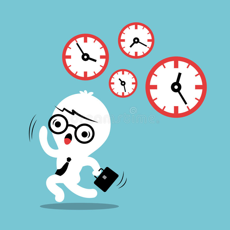 Busy concept running out of time business cartoon. Illustration stock illustration