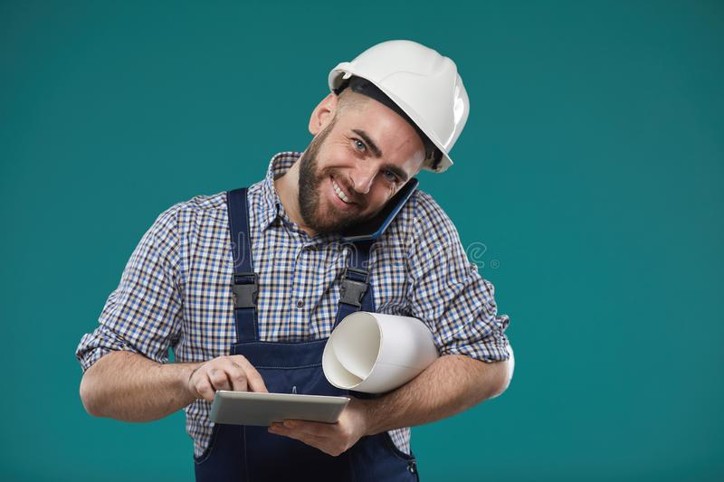 Busy Construction Foreman Working royalty free stock photography