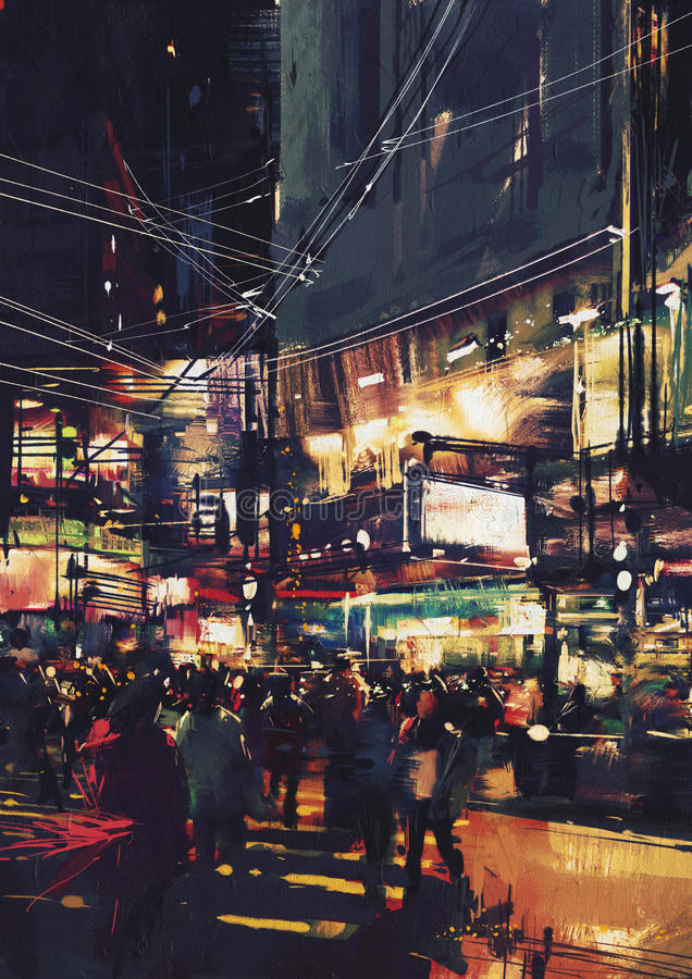 Busy crossing in the night with colorful lights royalty free stock image