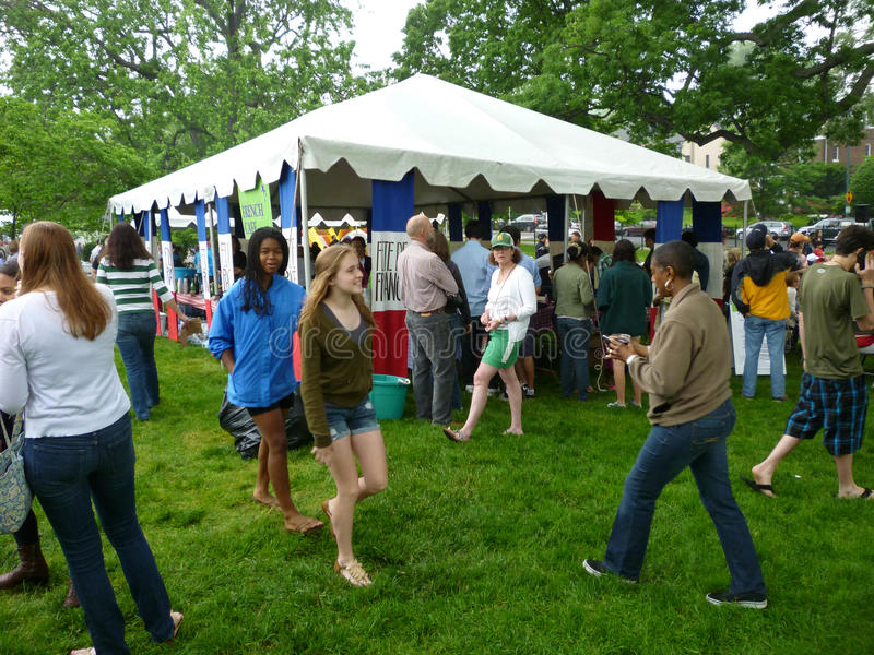 Busy Day at the Fete. Photo of crowd of people at the maret school annual fete champetre in washington dc on 5/14/2011. This annual fund raising event is held in royalty free stock photos