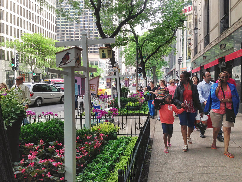 Busy Downtown Street. In Chicago royalty free stock photography