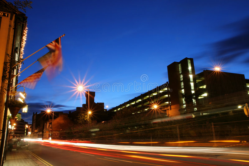 Busy evening street during rush hour stock photography