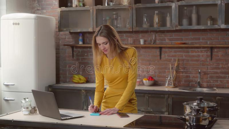 Busy female in the morning. royalty free stock images
