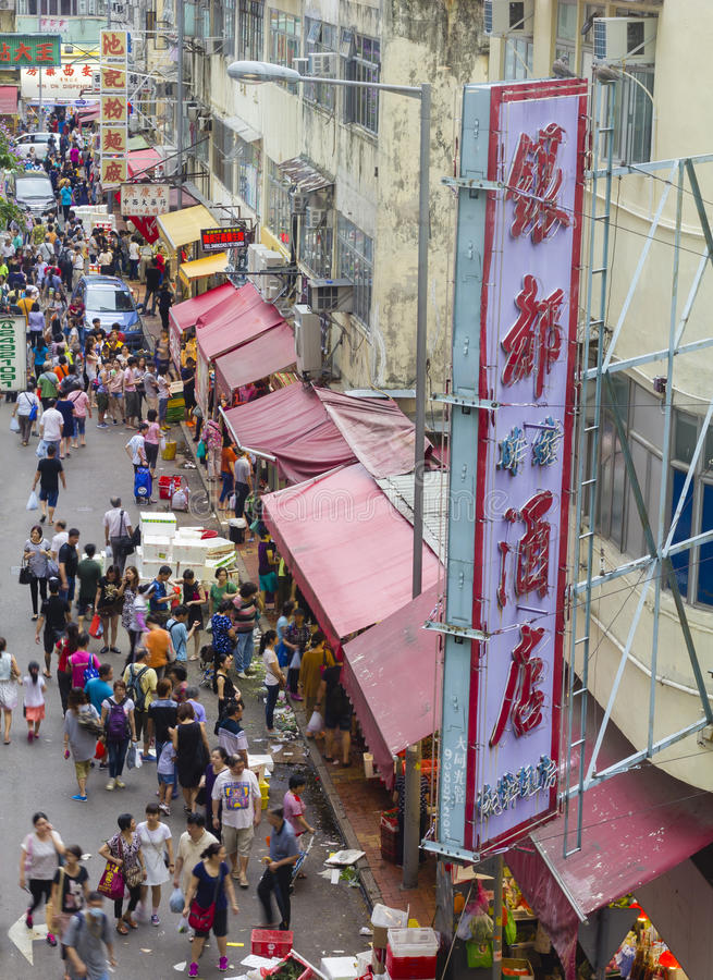 Busy food market with many people in Hong Kong royalty free stock photo