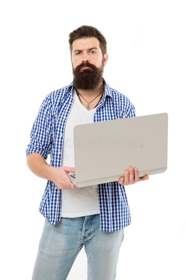 Busy freelancer. Business online. Bearded man work on computer. Freelance work online. Man with computer. Bearded man royalty free stock photography