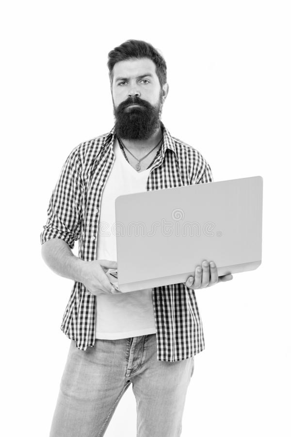 Busy freelancer. Business online. Bearded man work on computer. Freelance work online. Man with computer. Bearded man. Using computer. Online management. Stay stock image