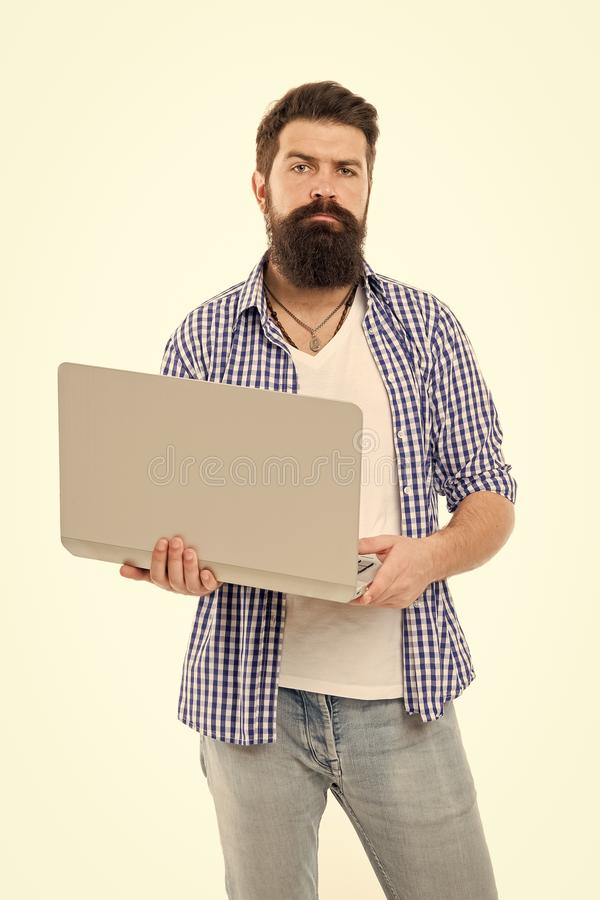 Busy freelancer. Business online. Bearded man work on computer. Freelance work online. Man with computer. Bearded man. Using computer. Online management. Stay stock images