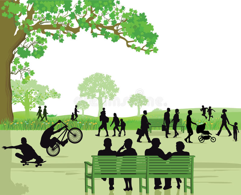 Busy Green Park with Many People vector illustration