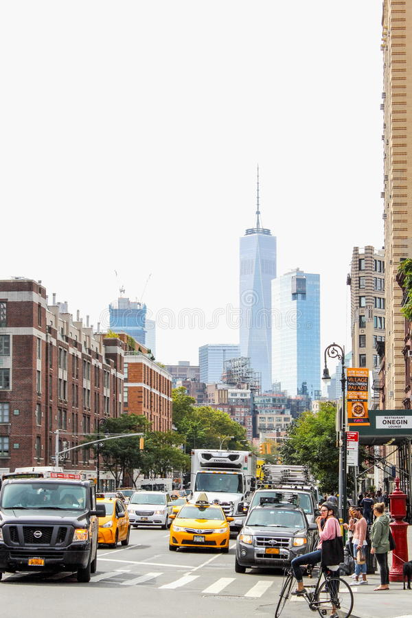 Busy Greenwich Village - Greenwich Village is a neighborhood on the west side of Lower Manhattan, New York City. stock photography