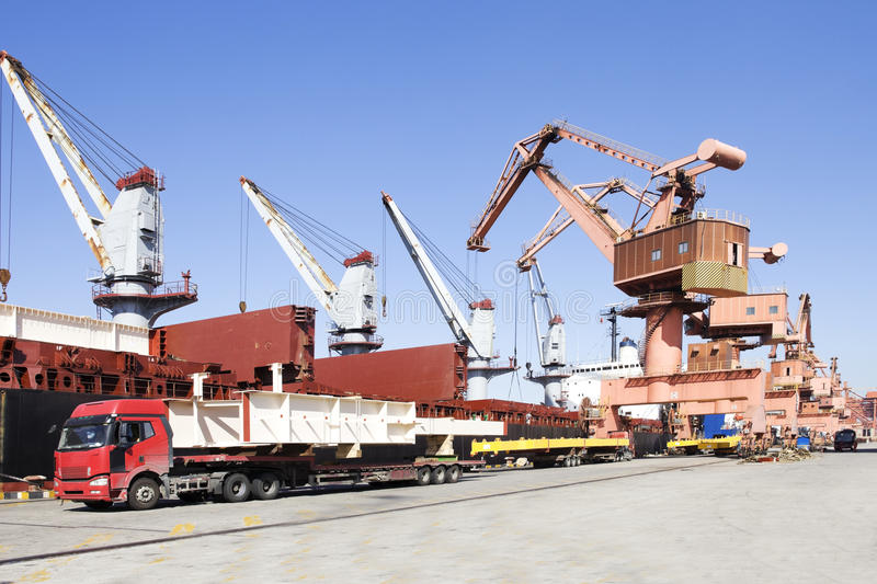 Download A busy harbor stock photo. Image of truck, busy, load - 25989136