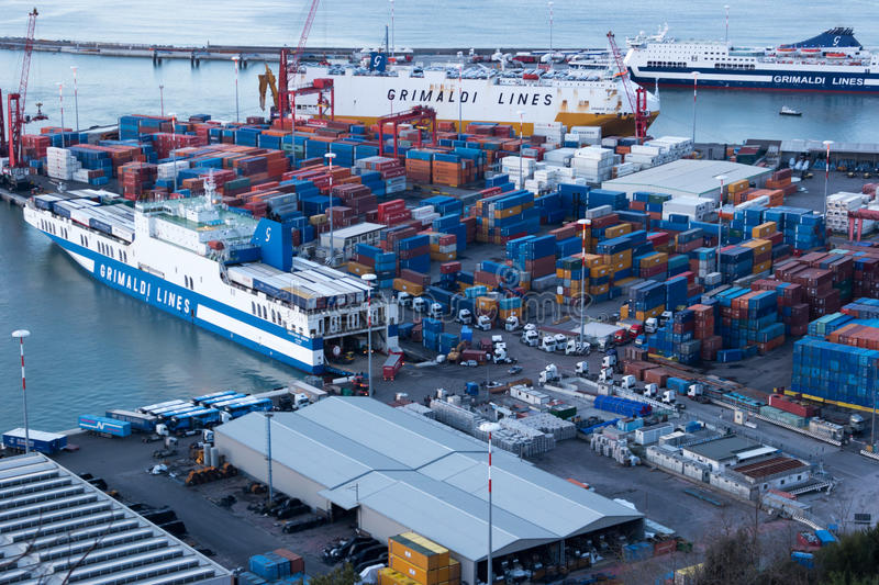 Harbor And Freight Ships Editorial Stock Photo