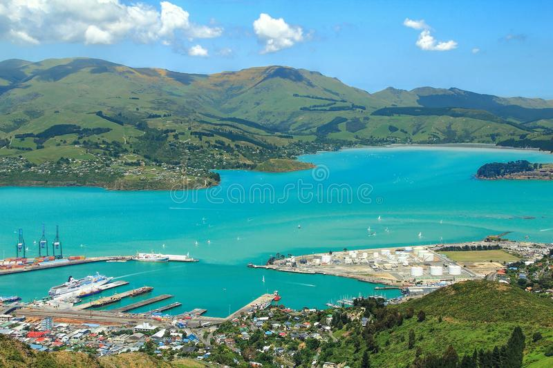 Busy harbor in summer Christchurch, New Zealand. Landscape of busy harbor in summer in Christchurch, New Zealand stock photos