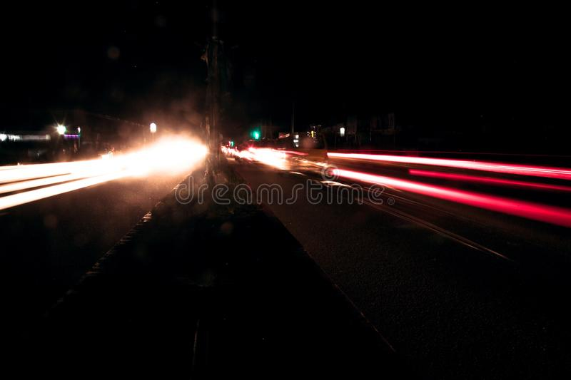 Busy highway at night. stock image