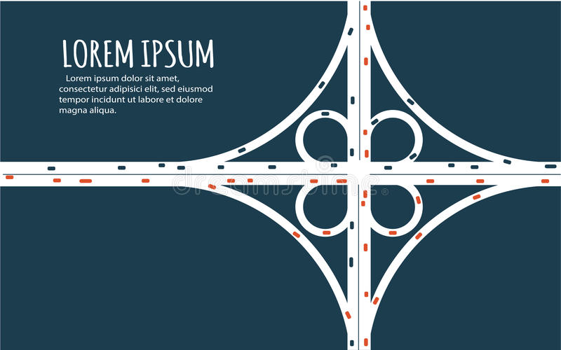 Busy highway road junction minimalistic banner. royalty free illustration