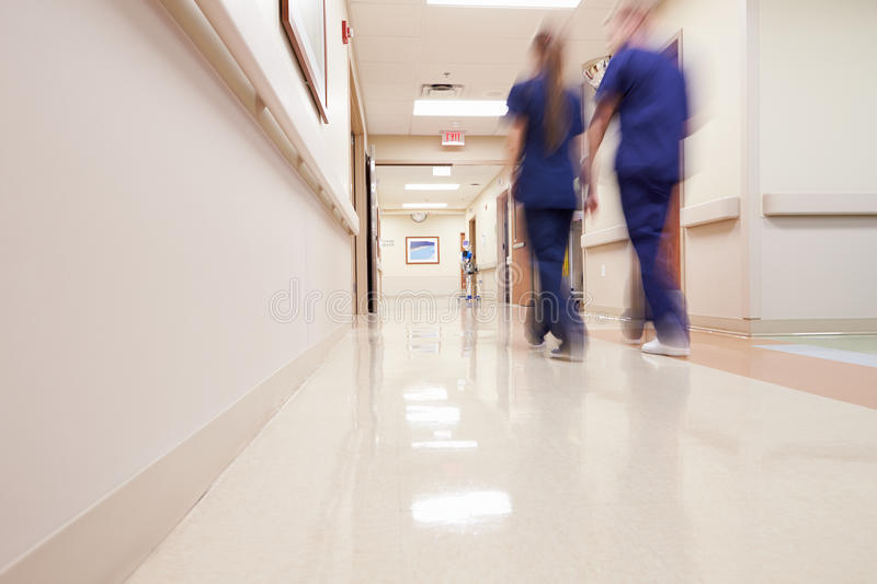 Busy Hospital Corridor With Medical Staff stock photography
