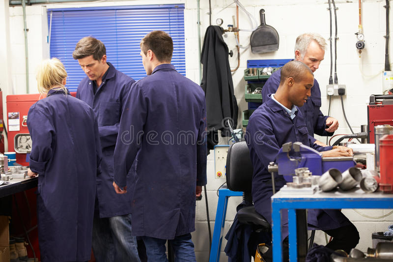Busy Interior Of Engineering Workshop royalty free stock photos