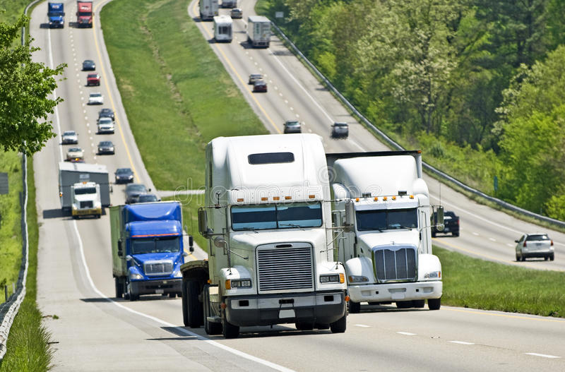 Busy Interstate Traffic royalty free stock photos