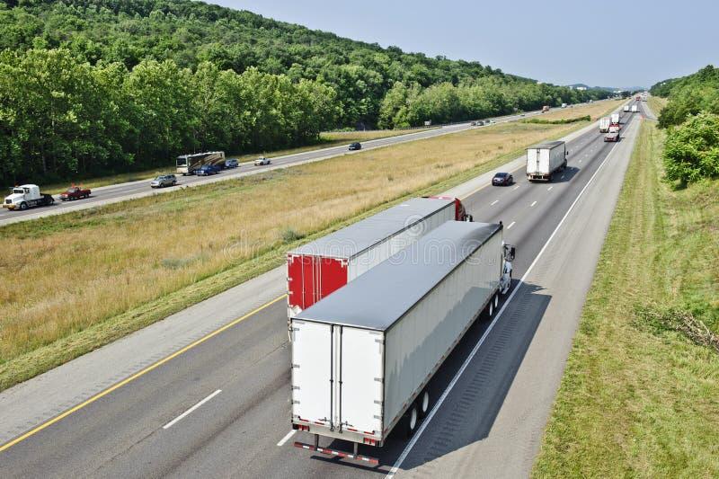 Busy Interstate Traffic. Horizontal shot of busy interstate traffic stock image