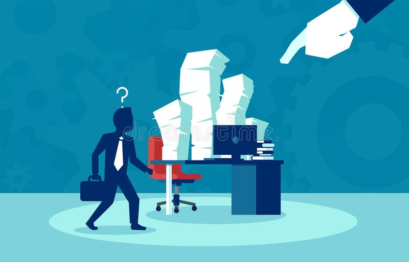 Busy job of an corporate employee, bureaucracy, paperwork concept stock illustration