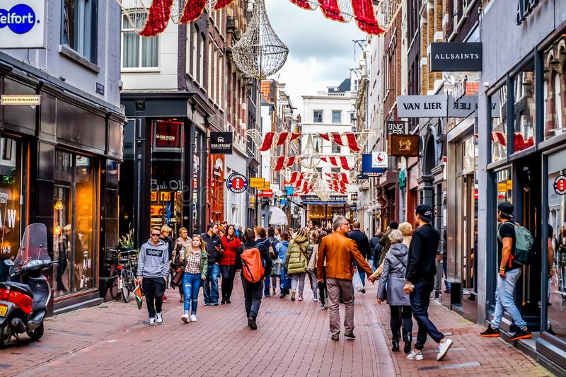 The busy Kalverstraat, a famous shopping street in the center of the old city of Amsterdam stock image