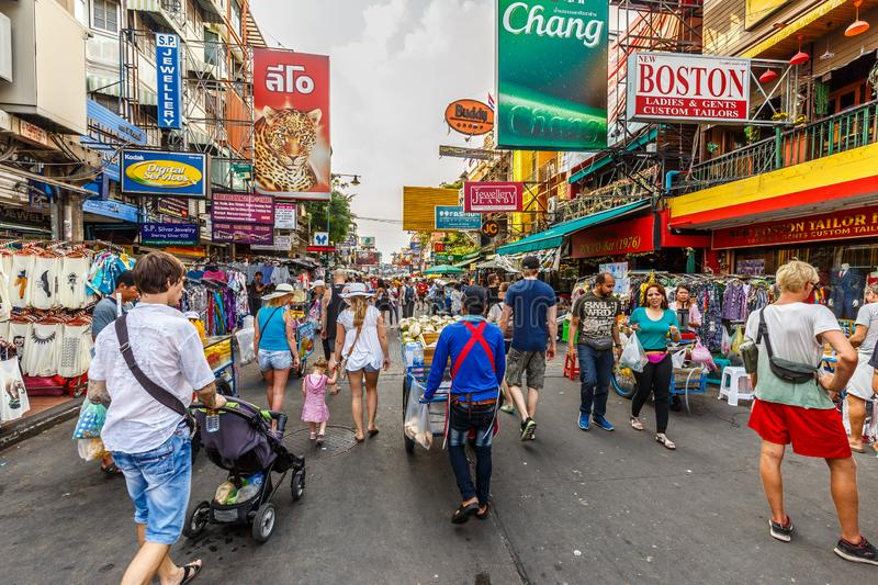Busy Khaosan Road in Bangkok. Khaosan Road in the centre of Bangkok with its budget hotels, shops, restaurants, bars and clubs is a meeting point for tourists stock photos