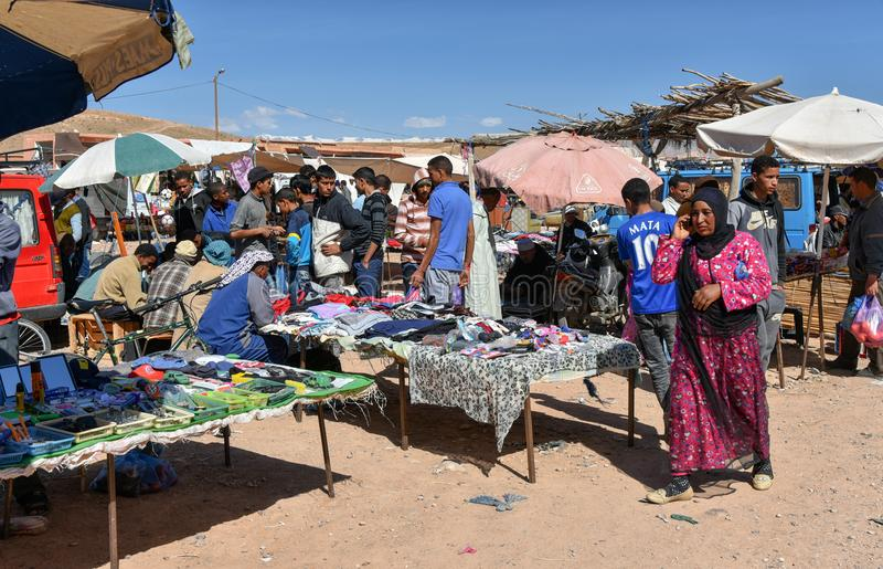 Busy local market in Morocco stock image