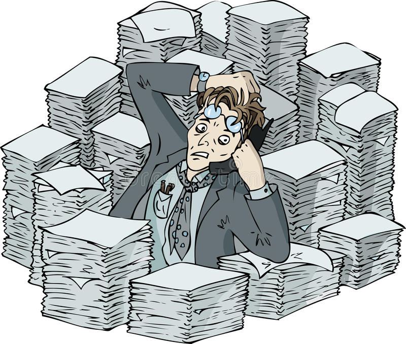 Busy man. Busy office man in the crunch time with papers vector illustration