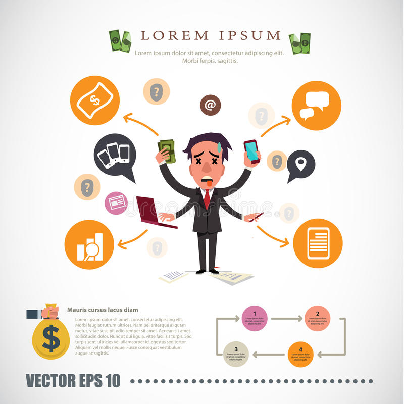 Busy man. businessman character - vector illustration