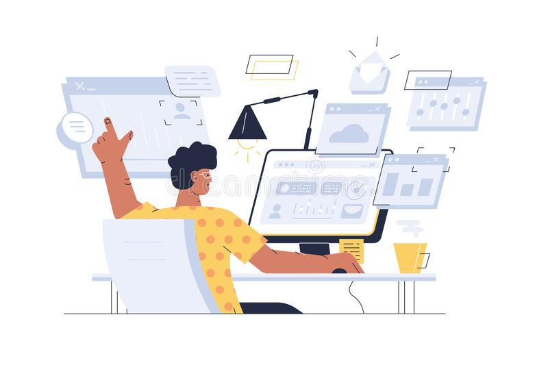 Busy man at workplace vector illustration