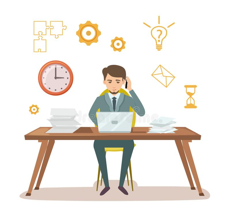 Busy manager work with documents. Young businessman sit at office table and work on laptop. Effective working and time organization, corporate business vector vector illustration