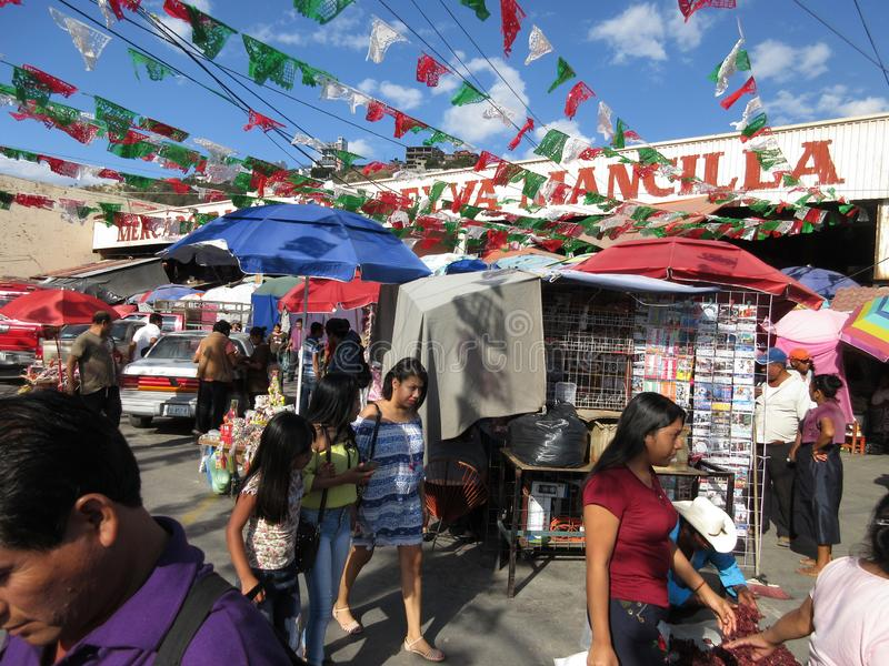 Busy Market Place Before New Years Eve in Mexico stock images