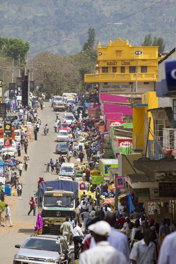 Busy market street in eastern Uganda stock photography