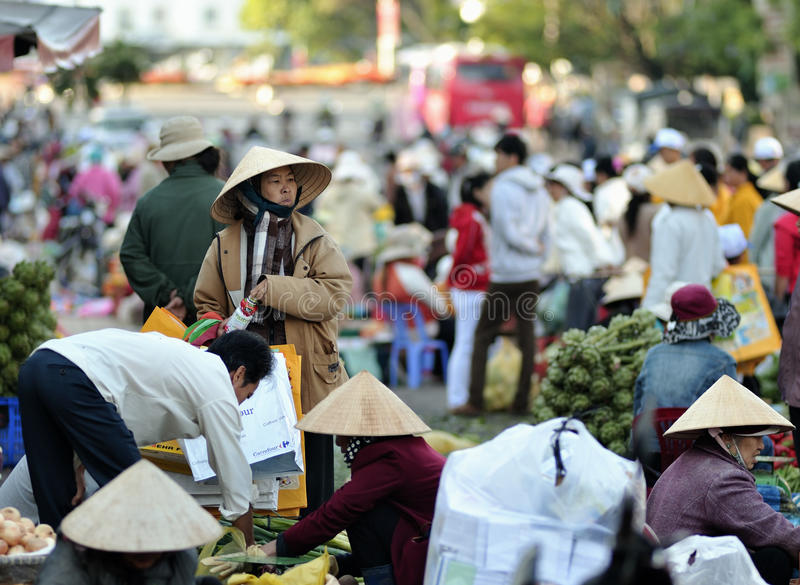 The busy market in Vietnam royalty free stock images