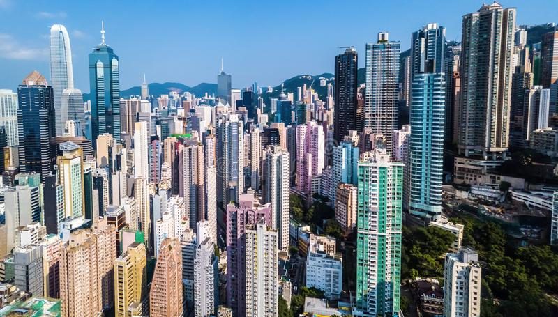 Busy metropolis with high buildings stock photo