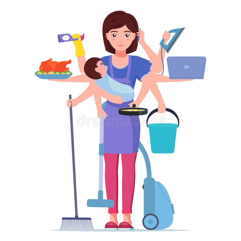 Busy mom. Mother doing housework royalty free stock photo
