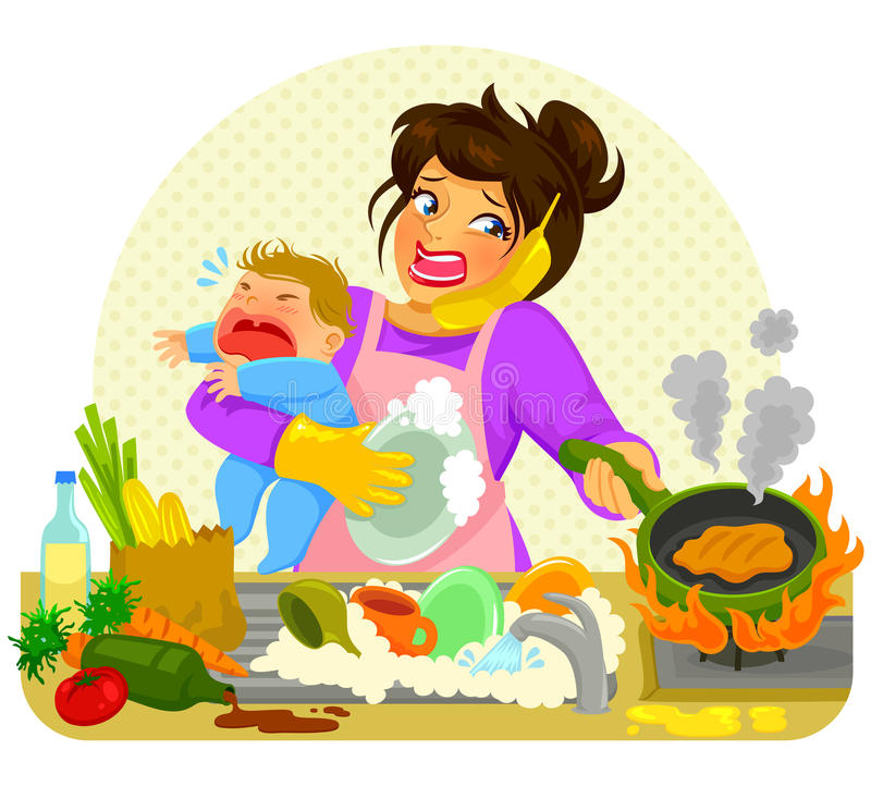 Busy mom. Stressed young woman doing many tasks while holding a crying baby royalty free illustration