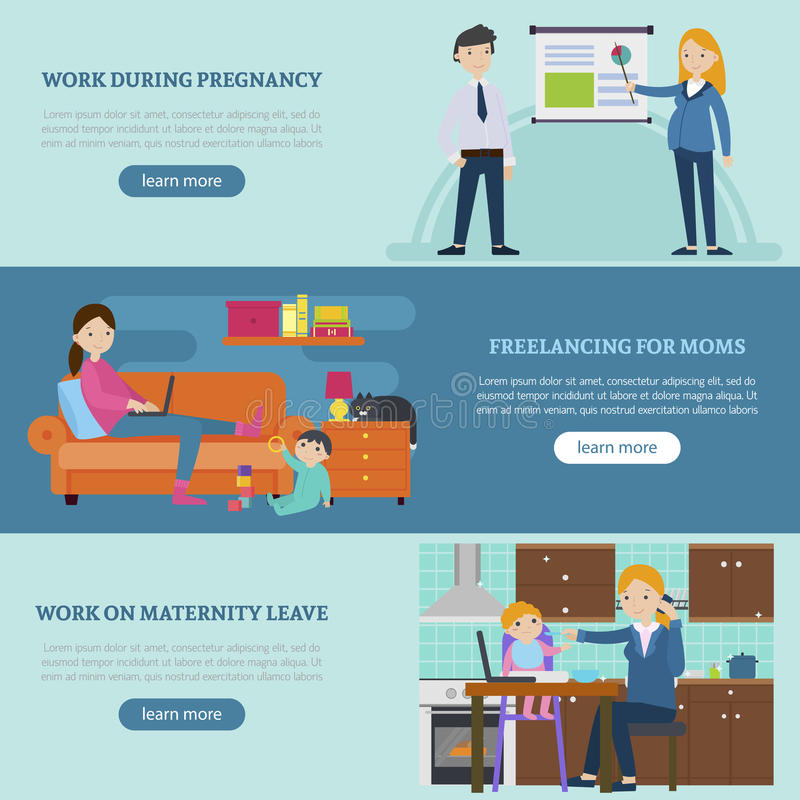 Busy Mother Horizontal Banners. With woman working during pregnancy maternity leave and freelance occupation vector illustration royalty free illustration