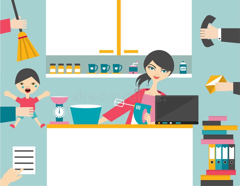 Busy multitask woman. royalty free illustration